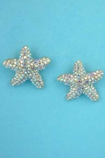 "Aurora Borealis/Gold Star Shape Round Stone Post 0.5"" Earring"