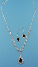Jet/Clear Silver Dangle Pear Stone Round Set