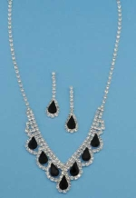Jet/Clear Silver Pear/Round Stone Set