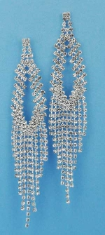 """Clear/Silver Small Round Stone Dancing Row 3"""" Post Earring"""