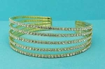 Clear/Gold Small Round Stone Five Row Bracelet
