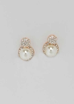 "Pearl/Clear Rose Gold Two Ball Shape 0.5"" Post Earring"