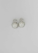 "Pearl/Clear Silver Two Ball Shape 0.5"" Post Earring"