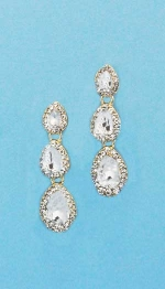 """Clear/Gold Three Pear Stone 1.5"""" Post Earring"""