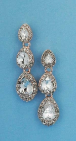 """Clear/Rose Gold Three Pear Stone 1.5"""" Post Earring"""