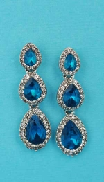 "Blue Zircon/Clear Silver Three Linked Stone 1.5"" Post Earring"