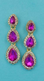 "Fuchsia/Clear Gold Three Linked Pear Stone 1.5"" Post Earring"