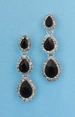 """Jet/Clear Silver Three Pear Linked Stone 1.5"""" Post Earring"""