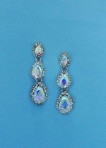 "Aurora Borealis/Clear Silver Three Linked Stone 1"" Post Earring"