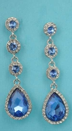 "Sapphire/Clear Top Round Bottom Pear Stone 1.5"" Linked Earring"