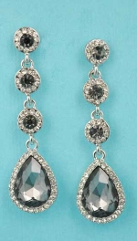 "Black Diamond/Clear Silver Top Round Bottom Pear Stone 1.5"" Linked Earring"