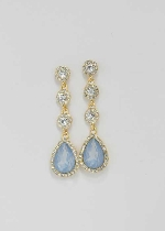 """Blue Opal/Clear Gold Four Stone Linked 2"""" Post Earring"""