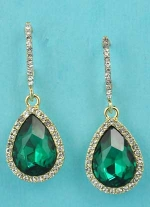 """Emerald/Clear Gold Top C Shape Bottom Pear Stone 1.5"""" Post Earring"""