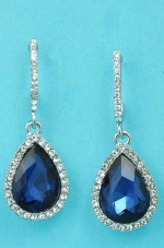 "Montana Navy/Clear Silver Top C Shape Bottom Pear 1.5"" Post Earring"