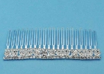 Clear/Silver One Row Round Stone Combs