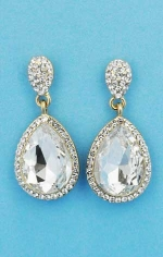 """Clear/Gold Top Small/Medium Bottom Pear Stone 1.5"""" Post Earring"""