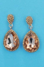 "Light Peach/Rose Gold Top Small Medium Pear Stone 1.5"" Post Earring"