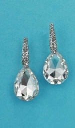 "Clear/Silver Top Straight/Bottom Pear 1.5"" Post Earring"
