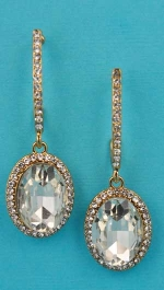 """Clear Gold Top C Shape Bottom Oval Stone 2.5"""" Post Earring"""