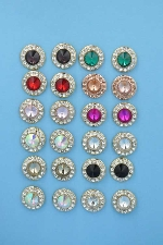 Multiple Colors/Gold 24 Earrings Round Shape Post