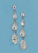 "Clear/Silver Four Linked Stone 1.5"" Post Earring"