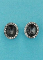Black Diamond/Clear Single Oval Post Earring