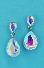 Aurora Borealis/Silver Two Linked Pear Shape Post Earring