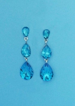 "Aquamarine/Silver Three Linked Dancing Stone 1.5"" Post Earring"