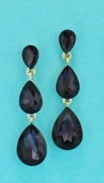 "Amethyst/Gold Three Linked Pear Shape 2"" Post Earring"