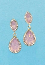 """LT. Rose/Clear Gold Top Marquise Bottom Pear 1.5"""" Post Earring"""
