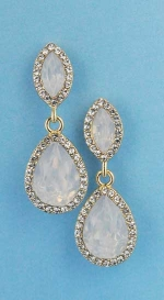 "Opal/Clear Gold Top Marquise/Bottom Pear 1.5"" Post Earring"