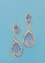"""Blue Opal/Clear Gold Top Marquise/Bottom Pear 1.5"""" Post Earring"""