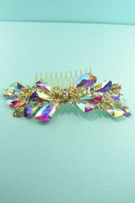 Aurora Borealis/Clear Gold Big Flower Shape Pear Stone Hair comb