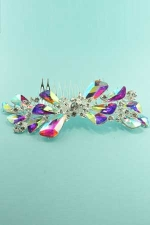 Aurora Borealis/Clear Silver Big Flower Shape Pear Stone Hair comb