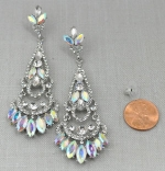 AB Silver Marquise Cluster Chandelier Post Earring