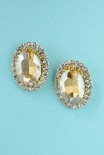 Light Colorado/Clear Gold Single Emerald Stone Surrounded Small Round Stone 1/4' Post Earring