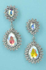 "Aurora Borealis/Clear Silver 2 Pear Stone Framed Post Dangle 2"" Earring"