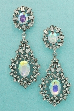 """Aurora Borealis/Clear Silver Oval Stone Framed Round Stone 2"""" Dangle Post Earring"""