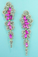 "Fuchsia/Clear Gold Cloud Shape Marquise/Round Stone 2.5"" Dangle Post Earring"