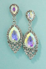 "Aurora Borealis/Clear Silver Two Pear Stone Pointed 2"" Dangle Post Earring"