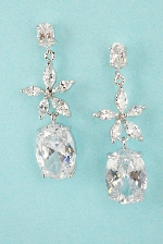 Clear Star Shape Oval Stone Dangle Post 1' Earring