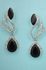 """Jet/Clear Silver Flame Shape Marquise Stone 2"""" Earring"""