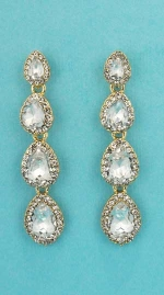 """Clear/Gold Four Linked Pear Stone 2"""" Post Earring"""