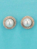 Pearl/Rose Gold Single Pear Ball Post Earring