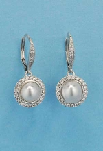 Cubic Zirconia/Pearl Round Stone Fish Hook Earring