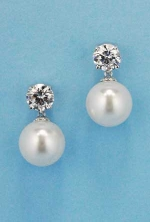Cubic Zirconia/Pearl Top Medium Round Stone Earring