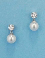 "Cubic Zirconia/Pearl Small Top Round 1"" Post Earring"