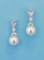 Cubic Zirconia/Pearl Top Leaves Bottom Round Pearl