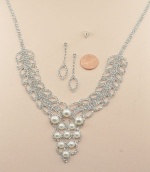 Pearl/Silver Double Row Webbed With Pearl Cluster Necklace Set