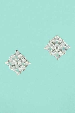 Cubic Zirconia Silver Square Shape Stud Post Earrings